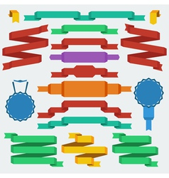 flat design ribbons set vector image