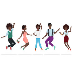 happy group of african american teamwork friends vector image