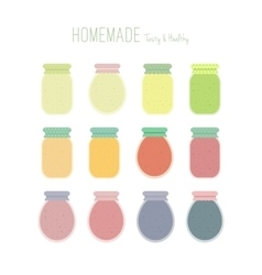 Set of homemade jam jars vector image