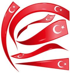 turkey flag set vector image vector image