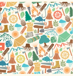 background pattern with camping icons vector image