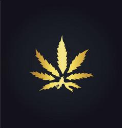 Gold marijuana leaf logo vector