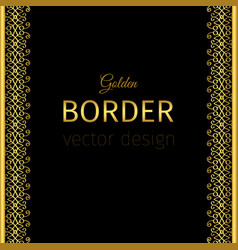 golden vertical border with curls vector image