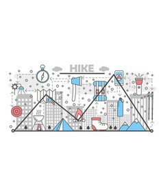 hiking concept flat line art vector image