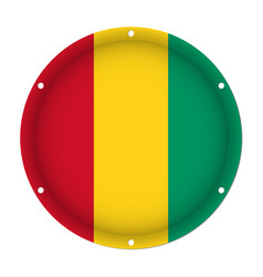 round metallic flag of guinea with screw holes vector image