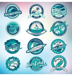 Summer Surfing Labels Badges Emblems and vector image vector image