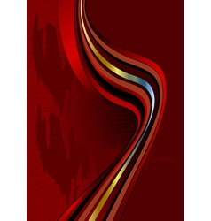 Wavy stripes on dark red background vector image