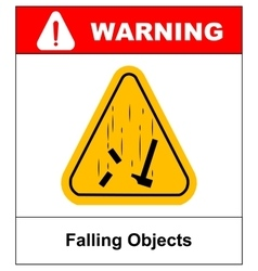 Danger Falling Objects Warning sign vector image vector image