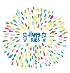 Happy kids logo or card for preschool or vector image vector image