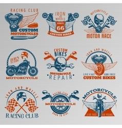 Motorcycle In Color Emblem Set vector image