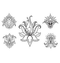 Persian floral paisley ornaments and elements vector image vector image