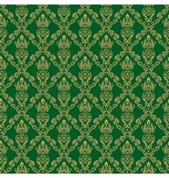 Seamless Damask Wallpaper 1 Green Color vector image vector image