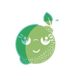 Silhouette kawaii nice thinking lemon fruit vector