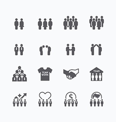 team and business silhouette icons flat design vector image