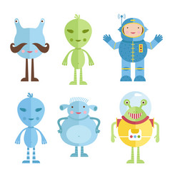 aliens and astronaut icons in cartoon style vector image