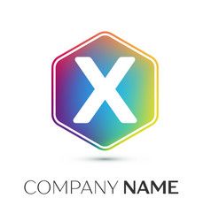 letter x logo symbol in the colorful hexagonal on vector image