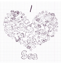 sea card with heart vector image vector image