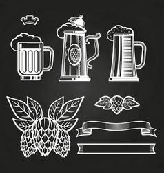 vintage elements for labels - glass of beer ribbon vector image vector image