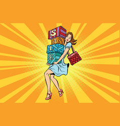 Young woman with boxes sale buyer and shopping vector