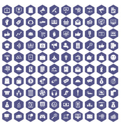 100 digital marketing icons hexagon purple vector