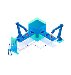 3d isometric man at work with semi automatic vector image