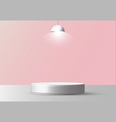 3d realistic empty white round pedestal mockup vector image