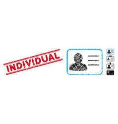 Account card mosaic and scratched individual seal vector