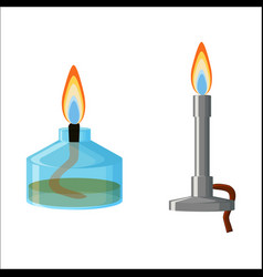 alcohol spirit burner and bunsen burner vector image