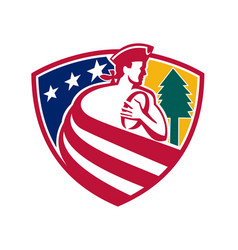 American patriot rugby shield vector
