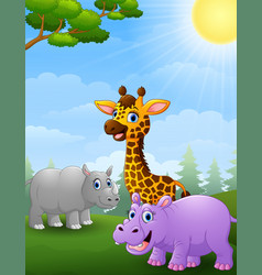 animal african cartoon in the jungle vector image