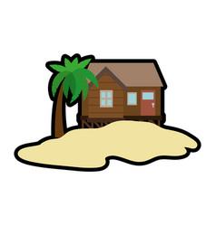 Beach house icon vector