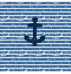 Blue anchor on seamless nautical striped vector image