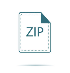 blue zip icon isolated on background modern flat vector image