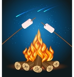 Bonfire with marshmallow camping grill vector