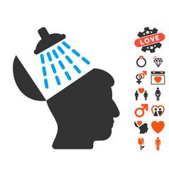 Brain washing icon with valentine bonus vector
