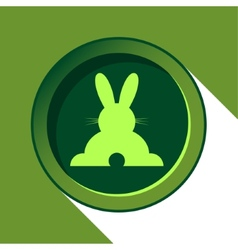 button with light green back Easter bunny and vector image