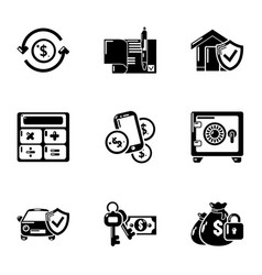 Capital investment icons set simple style vector