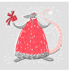 Card with rat in chritmas clothes smiling merry vector