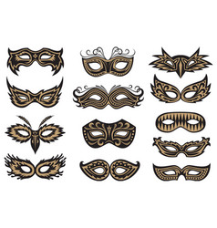 Carnival mask set vector