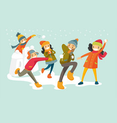 Caucasian white family playing snowball fight vector
