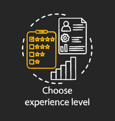 Choose experience level chalk icon five stars vector