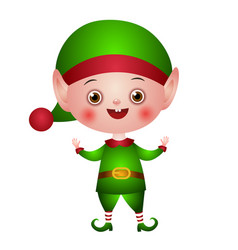 christmas elf with empty hands up vector image