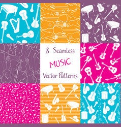collection music seamless patterns vector image