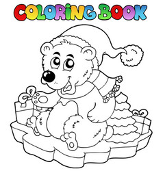 coloring book christmas bear vector image