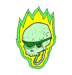 comic cartoon flaming pirate skull vector image