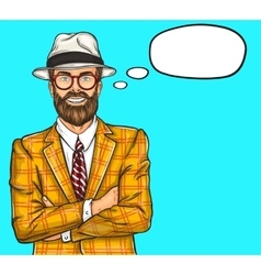 Confident pop art hipster man vector image