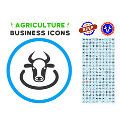cow area rounded icon with set vector image
