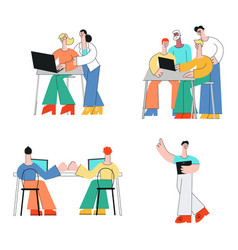 coworking communication set in vector image
