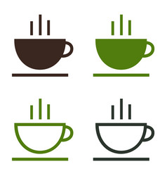 cup coffee tea hot drink simple icon set vector image