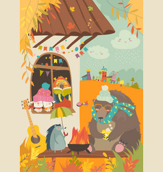 Cute animals sitting around bonfire at backyard vector